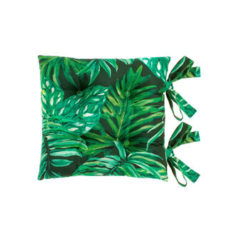 100% cotton seat pad with tropical leaves