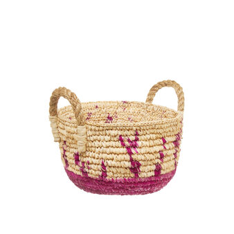 Sisal basket with coloured base