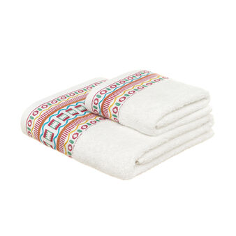 Terry towel with jacquard flounce
