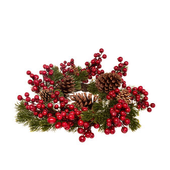 Artificial pine wreath with pine cones D 50cm