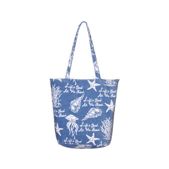100% cotton velour beach bag with marine pattern