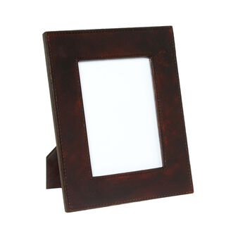 Used-effect leather photo frame