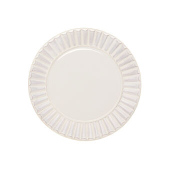 Isabel ceramic dinner plate with striped rim