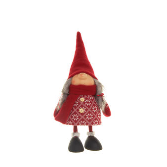 Decorative red wool doll with spring movement