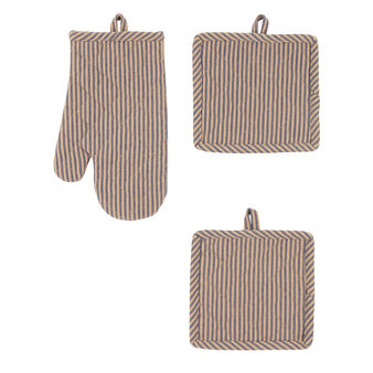 Set of 2 small pot holders and glove in 100% striped cotton