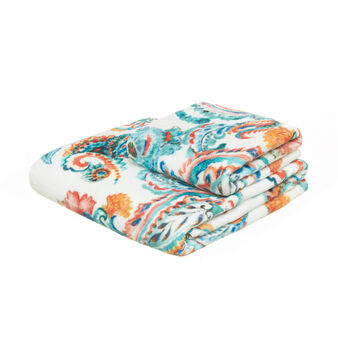 Floral terry velour towel in 100% cotton