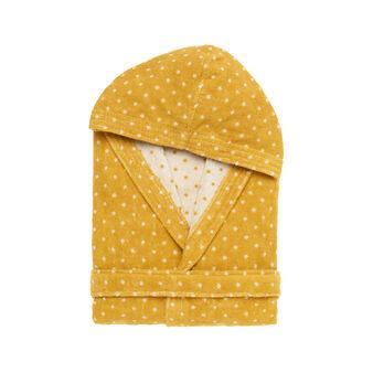 Yarn-dyed polka dot cotton terry bathrobe