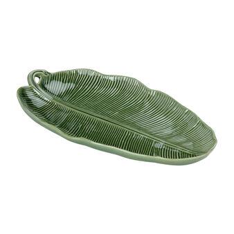 Portuguese ceramic serving platter with leaf