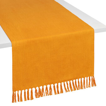 100% cotton table runner with fringing