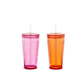 Assorted mugs with plastic ethnic-design straw