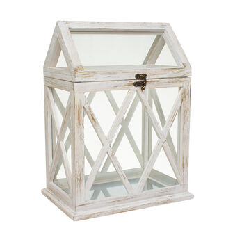 House-shaped lantern with glass and whitened wood