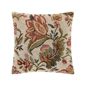 Jacquard cushion with floral pattern