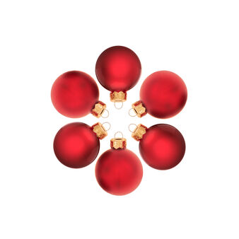 Set of 24 Christmas baubles in red glass D 4cm
