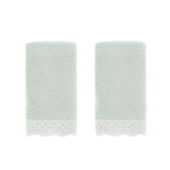 Two-pack face cloths in terry with broderie anglaise trim