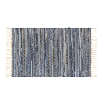 Denim kitchen mat with fringing