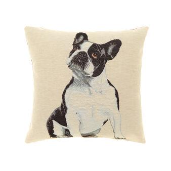 Gobelin cushion with French bulldog pattern