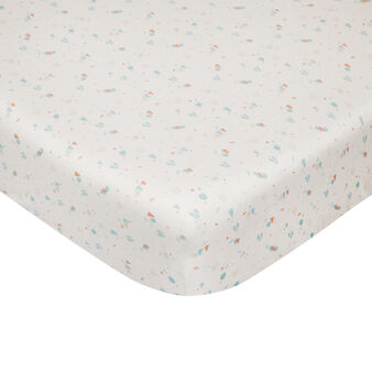 Fitted sheet in cotton percale with owl pattern