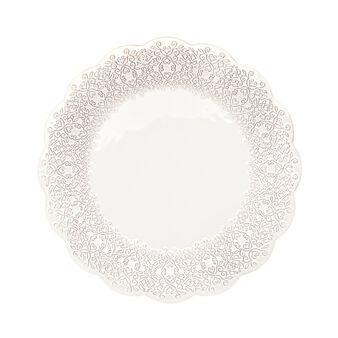 Isabel ceramic serving platter with damask design rim.