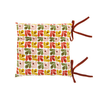 Geometric cotton upholstered seat pad