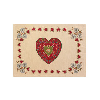 Gobelin table mat with hearts pattern