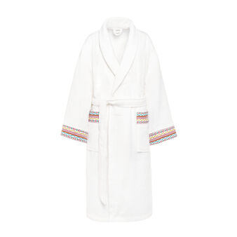 Terry bathrobe with jacquard frill