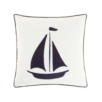 100% cotton cushion with sailboat embroidery