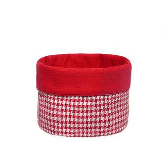 Round patterned yarn-dyed cotton basket