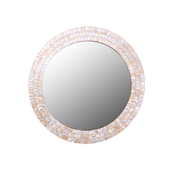 Round mirror with mosaic border