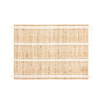 Striped table mat in cotton and abaca