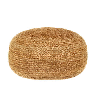 Woven jute pouf for interior use