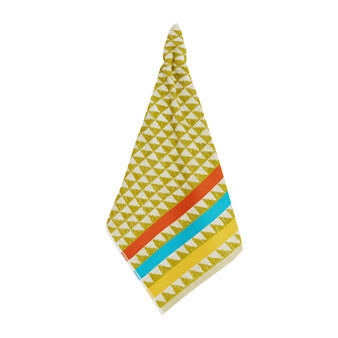 Terry tea cloth with geometric pattern