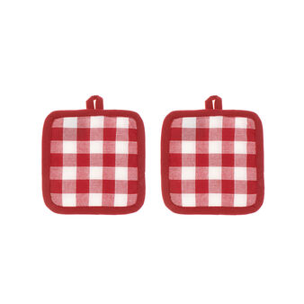 Set of 2 pot holders in 100% cotton with yarn-dyed check