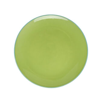 Ceramic plate with contrasting colour rim