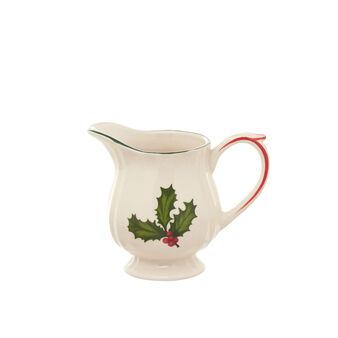 Ceramic milk jug with holly decoration