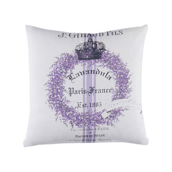 100% cotton cushion with lavender and lettering print