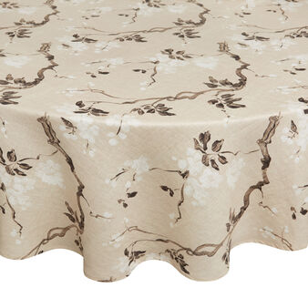 Peach tree round 100% linen tablecloth with soft hand