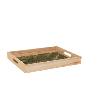 Marble-effect wooden tray