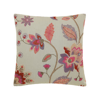 Linen, velvet and cotton cushion with embroidery