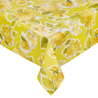 Plastic-coated cotton tablecloth with floral print