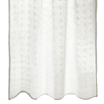 100% linen curtain with broderie anglaise embroidery