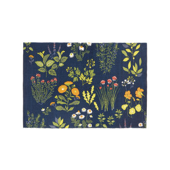 Cotton blend kitchen mat with Herbarium print