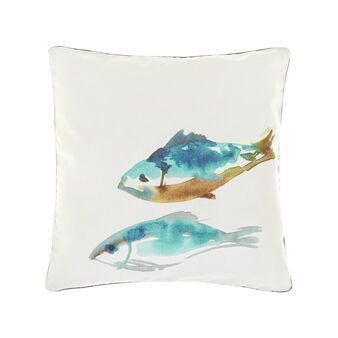 100% cotton cushion with fish print