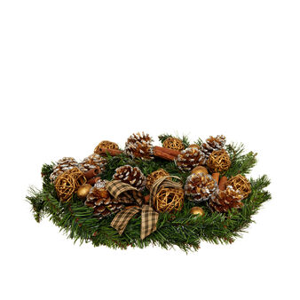Artificial pine wreath with pine cones and cinnamon D 30cm