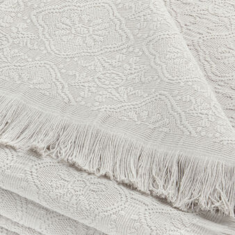 Bedspread in 100% cotton with weave and fringes