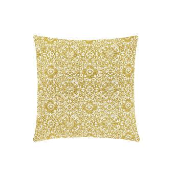 Cotton cushion with damask pattern