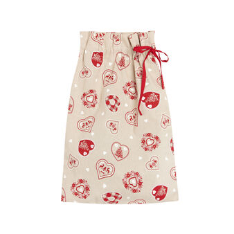Cotton gift sack with heart print