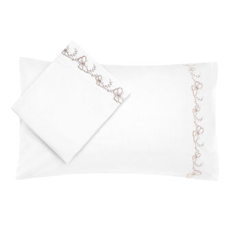 Cotton bed linen set with embroidered butterflies