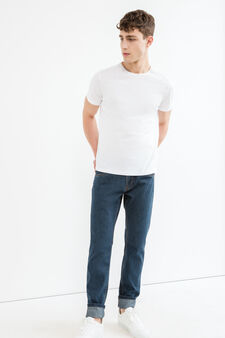 Regular-fit jeans with seams in contrasting colour, Dark Wash, hi-res