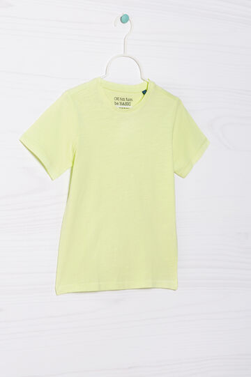 Solid colour 100% cotton T-shirt, Yellow, hi-res