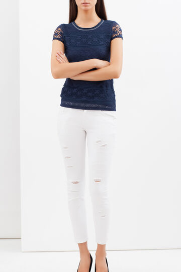 T-shirt con inserti in pizzo, Blu navy, hi-res